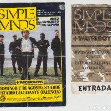 Entradas de Conciertos: ANTIGUA ENTRADA CONCIERTO + FLYER SIMPLE MINDS + WATERBOYS, AÑO 1986, VALENCIA. Lote 147783450