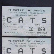 Entradas de Conciertos: LOTE DE 2 ENTRADAS CONCIERTO - CATS - AÑO 1990 - THEATRE DE PARIS .. A1253. Lote 149617722