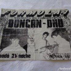 Entradas de Conciertos: FORMULA 1 ( VALENCIA ) --- ENTRADA DE DUNCAN DHU - SOBRE 1986 - RARA. Lote 151508690