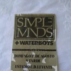 Entradas de Conciertos: ANTIGUA ENTRADA CONCIERTO SIMPLE MINDS + WATERBOYS - AGOSTO 1986 - ESTADIO DEL LEVANTE ( VALENCIA ). Lote 151509322