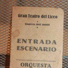 Entradas de Conciertos: ENTRADA ESCENARIO ORQUESTA TEMPORADA INVIERNO 1930-31. GRAN TEATRO DEL LICEO. INF. 3 FOTOS . Lote 151584182