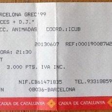 Entradas de Conciertos: ENTRADA CONCIERTO INCOGNITO + URBAN SPECIES - BARCELONA 1999 - FESTIVAL GREC. Lote 154162206