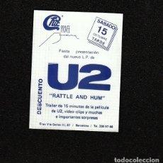 Billets de concerts: U2:FIESTA PRESENTACION L.P-RATTLE & HUM- FLYER RARO DE COLECCIONISTA. Lote 269035594