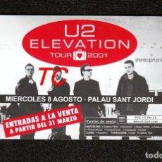 Billets de concerts: U2:FLYER ANTIGUO DE 2001-ELEVATION TOUR-PALAU SANT JORDI.-MINT CONDITION!!. Lote 206200562
