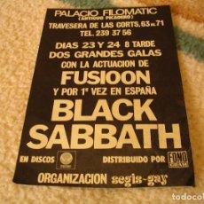Entradas de Conciertos: FLYER ORIGINAL BLACK SABBATH + FUSIOON BARCELONA 1973 CONCIERTO NUNCA CELEBRADO. Lote 156722958