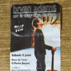 Entradas de Conciertos: ENTRADA CONCIERTO BRYAN ADAMS BURGOS 1999. Lote 157782386