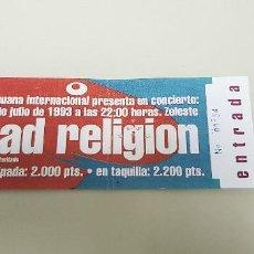 Entradas de Conciertos: J- ENTRADA CONCIERTO BAD RELIGION SALA ZELESTE BCN 1993. Lote 179017096
