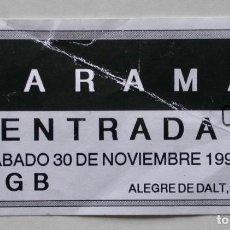 Entradas de Conciertos: ENTRADA DE ZARAMA EN LA SALA KGB DE BARCELONA, AÑO 1991. Lote 165516874