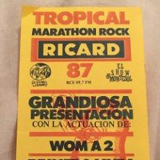Entradas de Conciertos: INVITACIÓN MARATÓN ROCK 1987. Lote 165552498