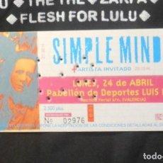 Bilhetes de Concertos: SIMPLE MINDS ENTRADA TICKET ORIGINAL VALENCIA SPAIN 1995 SIN USAR MINT. Lote 166672042
