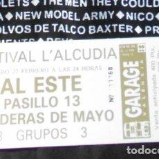 Entradas de Conciertos: AL ESTE PASILLO 13 BANDERAS DE MAYO ENTRADA TICKET CONCIERTO ORIGINAL GARAGE VALENCIA 1987. Lote 169341680