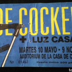 Entradas de Conciertos: ENTRADA CONCIERTO JOE COCKER LUZ CASAL MADRID 1988. Lote 170413126