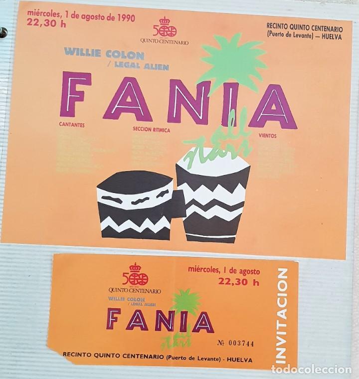 ENTRADA Y FOLLETO FESTIVAL FANIA 1990 HUELVA (Música - Entradas)