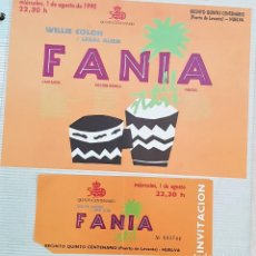 Entradas de Conciertos: ENTRADA Y FOLLETO FESTIVAL FANIA 1990 HUELVA. Lote 171444778
