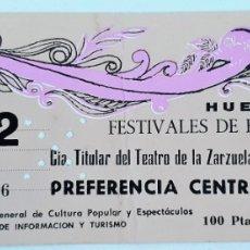 Entradas de Conciertos: ENTRADA TEATRO DE HUELVA. ZARZUELA DE MADRID. AÑOS 80. Lote 172878730
