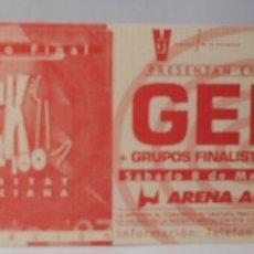 Entradas de Conciertos: GENE ENTRADA TICKET ORIGINAL CONCIERTO ARENA AUDITORIUM VALENCIA 1997 SIN USAR. Lote 172930183