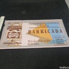 Bilhetes de Concertos: ENTRADA DE CONCIERTO BARRICADA PALACIO MUNICIPAL DE DEPORTES ZARAGOZA 1990. Lote 177482653