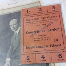 Entradas de Conciertos: PAU CASALS,DOS ENTRADAS, LIBROS ,UNO DEDICADO,MEDALLA ,PERIÓDICO Y VARIOS. Lote 179210903