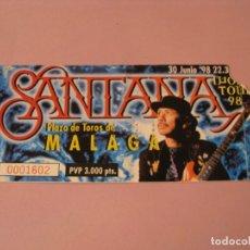 Entradas de Conciertos: ENTRADA CONCIERTO CARLOS SANTANA. WORLD TOUR 1998. MÁLAGA. PLAZA DE TOROS.. Lote 181150750