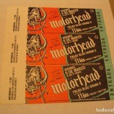 Entradas de Conciertos: LOTE 3 ENTRADAS MOTORHEAD + 11 BIS BARCELONA 1987 COMPLETAS ENGANCHADAS. Lote 183095543