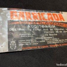 Biglietti di Concerti: ENTRADA ORIGINAL CONCIERTO DE BARRICADA LEGANES 30 JUNIO DE 1989 LEGAROCK 89 MADRID. Lote 184614261