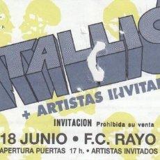 Entradas de Conciertos: METALLICA - ENTRADA - INVITACION ( PROHIBIDA LA VENTA ) MADRID 1993 #. Lote 186008087