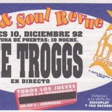 Entradas de Conciertos: THE TROGGS - ENTRADA - MADRID SALA AQUALUNG - 1992 #. Lote 186015733