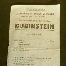 Entradas de Conciertos: PALAU DE LA MUSICA CATALANA (1931) 14 DE MARZO - UNICO RECITAL DE RUBINSTEIN. Lote 186174095