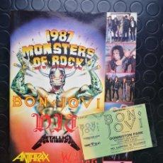 Entradas de Conciertos: BON JOVI ENTRADA MONSTER OF ROCK 1987 COMPLETA + CATALOGO DEL FESTIVAL. Lote 186313550