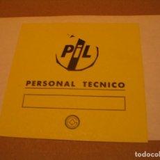 Bilhetes de Concertos: PUBLIC IMAGE LIMITED PIL BACKSTAGE ESPAÑA 1986 COMPLETO ENGANCHADO. Lote 186328842