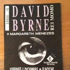 Entradas de Conciertos: DAVID BYRNE. ENTRADA. BARCELONA. (REY MOMO). Lote 190876726