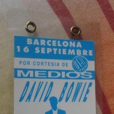 Biglietti di Concerti: ANTIGUA CREDENCIAL.PRENSA.DAVID BOWIE.TOUR 1990.BARCELONA. Lote 192187456