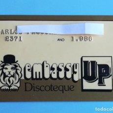 Entradas de Conciertos: ENTRADA 1986 PASE VIP DISCOTECA EMBASSY UP VALENCIA. Lote 193615968
