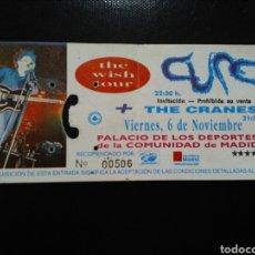 Entradas de Conciertos: ENTRADA CONCUERTO THE CURE MADRID 1992. Lote 194086070