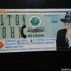 Entradas de Conciertos: ENTRADA CONCIERTO ELTON JOHN MADRID 1989. Lote 194086220