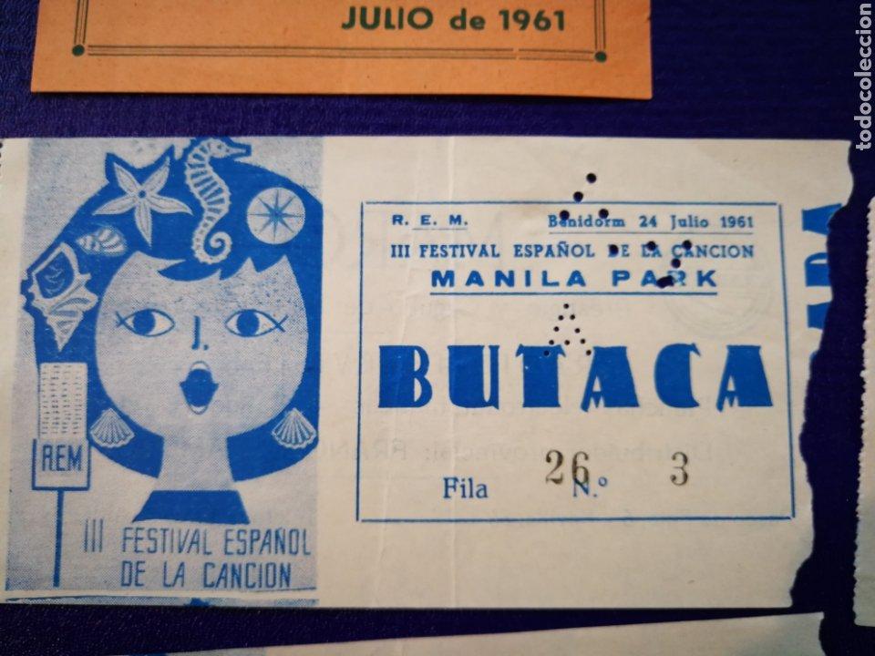 Entradas de Conciertos: LOTE DE 6 ENTRADAS PARA III FESTIVAL ESPAÑOL DE LA CANCIÓN. BENIDORM JULIO 1961. - Foto 4 - 194320475