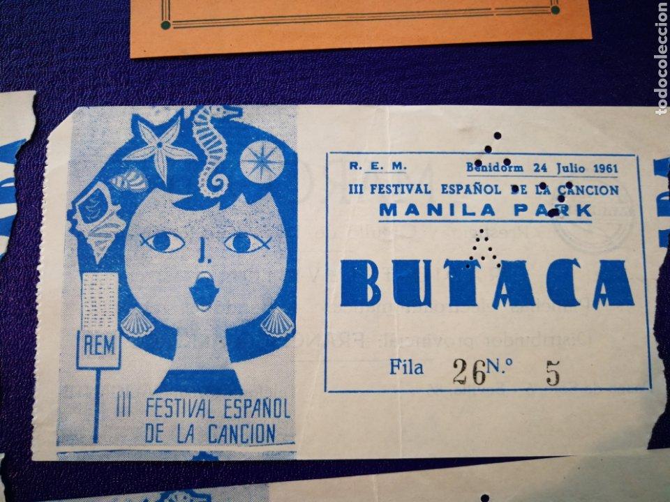 Entradas de Conciertos: LOTE DE 6 ENTRADAS PARA III FESTIVAL ESPAÑOL DE LA CANCIÓN. BENIDORM JULIO 1961. - Foto 5 - 194320475