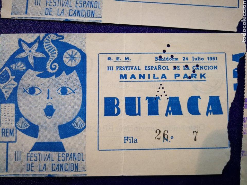 Entradas de Conciertos: LOTE DE 6 ENTRADAS PARA III FESTIVAL ESPAÑOL DE LA CANCIÓN. BENIDORM JULIO 1961. - Foto 6 - 194320475