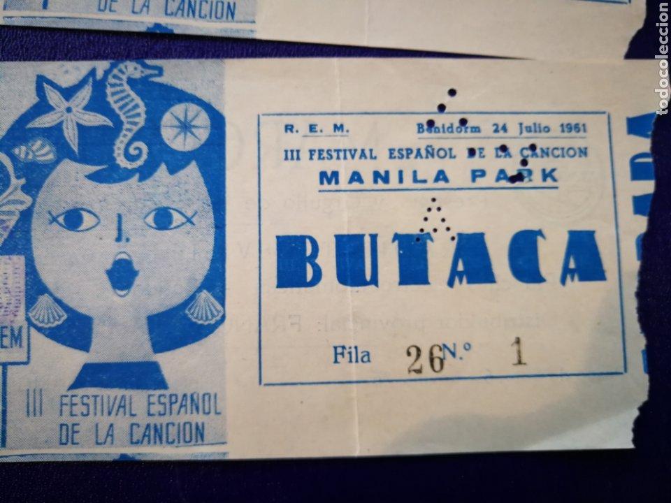 Entradas de Conciertos: LOTE DE 6 ENTRADAS PARA III FESTIVAL ESPAÑOL DE LA CANCIÓN. BENIDORM JULIO 1961. - Foto 7 - 194320475
