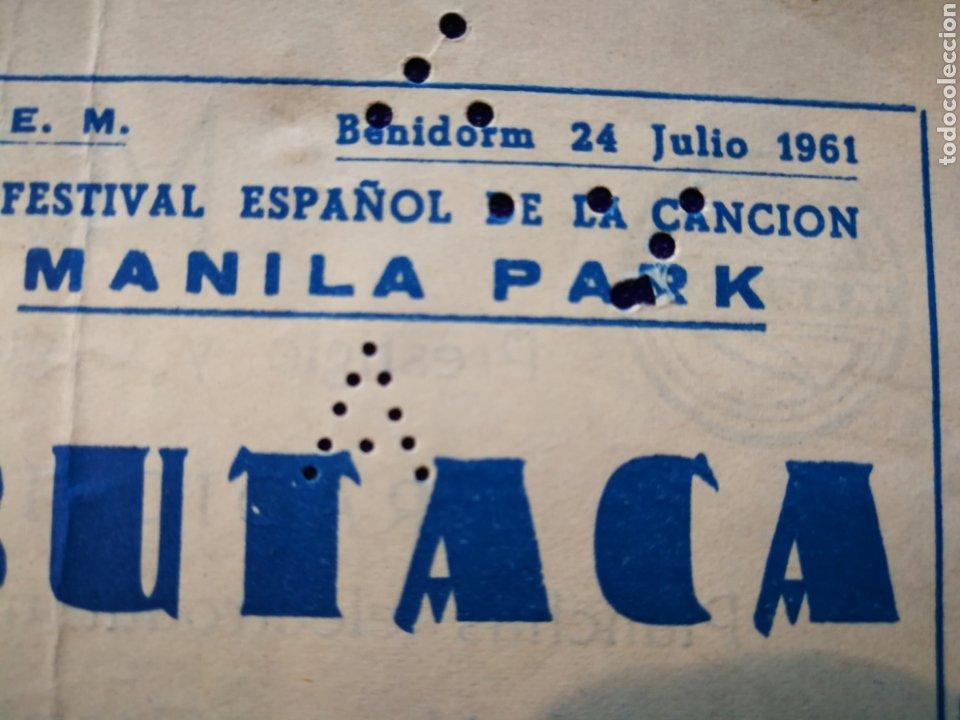 Entradas de Conciertos: LOTE DE 6 ENTRADAS PARA III FESTIVAL ESPAÑOL DE LA CANCIÓN. BENIDORM JULIO 1961. - Foto 9 - 194320475