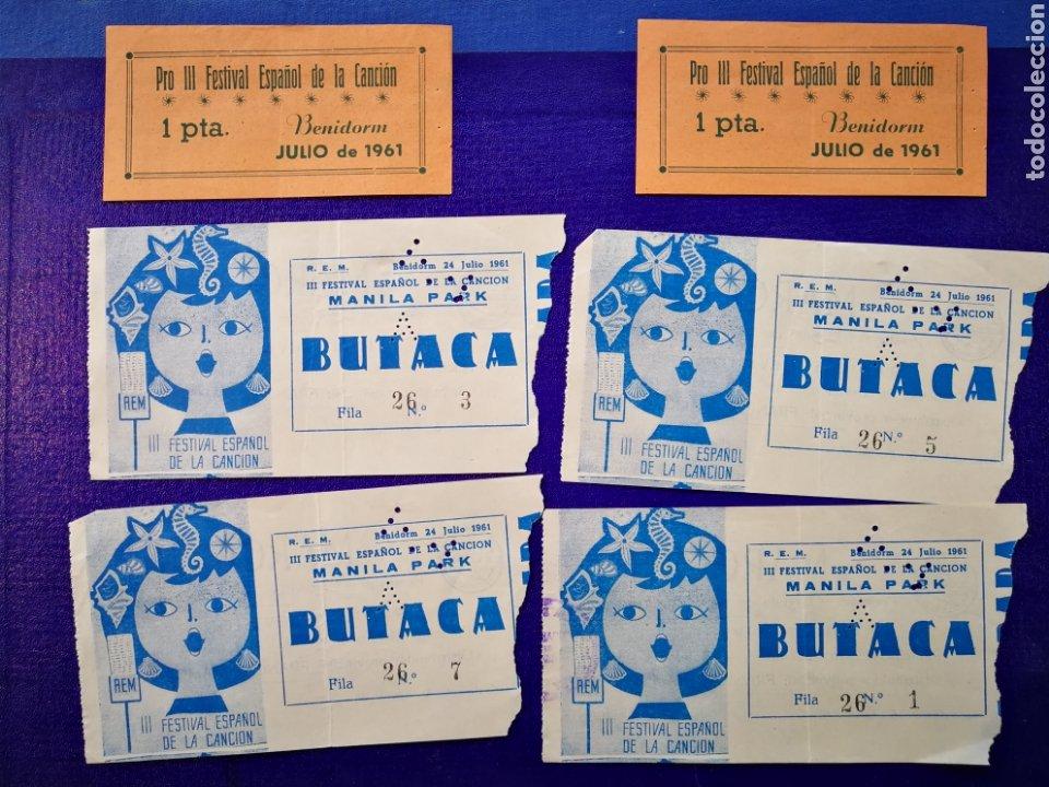 LOTE DE 6 ENTRADAS PARA III FESTIVAL ESPAÑOL DE LA CANCIÓN. BENIDORM JULIO 1961. (Música - Entradas)