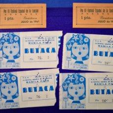 Entradas de Conciertos: LOTE DE 6 ENTRADAS PARA III FESTIVAL ESPAÑOL DE LA CANCIÓN. BENIDORM JULIO 1961.. Lote 194320475