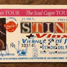 Entradas de Conciertos: STING + VINX. ENTRADA COMPLETA CONCIERTO ESTADIO MOLINÓN (GIJÓN), 1991. THE SOUL CAGES TOUR. Lote 195792458