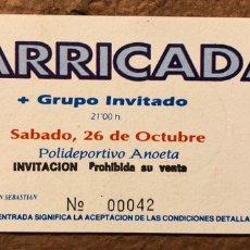 Entradas de Conciertos: BARRICADA. ENTRADA COMPLETA CONCIERTO EN POLIDEPORTIVO ANOETA (SAN SEBASTIÁN), AÑOS 90.. Lote 195792472