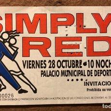 Entradas de Conciertos: SIMPLY RED. ENTRADA COMPLETA HISTÓRICO CONCIERTO PALACIO DE DEPORTES DE ZARAGOZA EN 1988. Lote 195911843