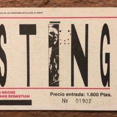 Entradas de Conciertos: STING + CARDÍACOS. ENTRADA COMPLETA CONCIERTO VELÓDROMO ANOETA (SAN SEBASTIÁN), EN 1985.. Lote 196021096