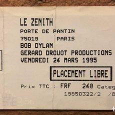 """Entradas de Conciertos: BOB DYLAN """"NEVER ENDING TOUR 1995"""". ENTRADA COMPLETA CONCIERTO EN """"LE ZENITH"""" DE PARIS EL 24/3/1995. Lote 196021596"""