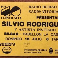 Entradas de Conciertos: SILVIO RODRÍGUEZ. ENTRADA COMPLETA CONCIERTO PABELLÓN DE LA CASILLA (BILBAO) EN 1989. Lote 196071235