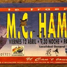 Entradas de Conciertos: MC HAMMER. ENTRADA CONCIERTO EN EL PALAU SANT JORDI (BARCELONA) EN 1992. PEPSI.. Lote 196075145