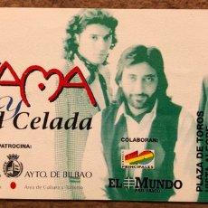 Entradas de Conciertos: KETAMA + ÁNGEL CELADA. ENTRADA COMPLETA CONCIERTO PLAZA TOROS VISTA ALEGRE (BILBAO), EN 1995. Lote 196133156